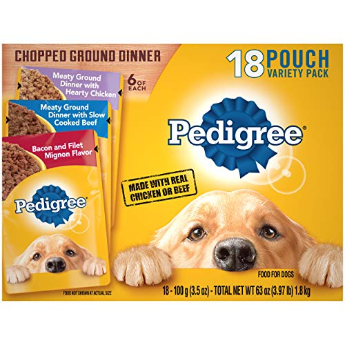 PEDIGREE Chopped Ground Dinner Variety Pack with Chicken, Filet Mignon & Beef 3.5 Ounces (18 Count)