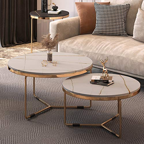 ZRN Modern Coffee Table Sofa Multi-fonctional Side Table Living Furniture Metal Triangular Nest of 2 Tables,Suitable for Living Room Bedroom Home Storage