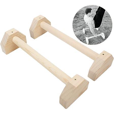 Falliback 1 Paire De Barres Parall/èles Bois,parallettes en Bois,Barre Parall/èle Musculation Bois Couleur Pin Style Russe pour Le Fitness heathly