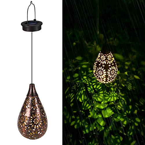 Linterna Solar Exterior LED Luz Solar Colgando Jardín Farol