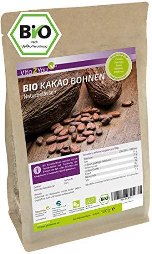 Bio Kakaobohnen 500g - Rohkost - naturbelassen - ganze Kakao Bohnen aus öko Anbau - Premium Qualität