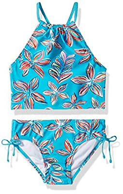 Kanu Surf Girls' Big Daisy Beach Sport Halter Tankini 2-Piece Swimsuit, Charlotte Floral Aqua, 12