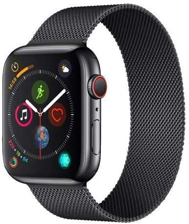 Kingwolf Compatible for Apple Watch Band 42mm 44mm, Adjustable Stainless Steel Mesh Wristband Sport Loop for iWatch Series 6/5/4/3/2/1, SE (Black, 42mm/44mm)