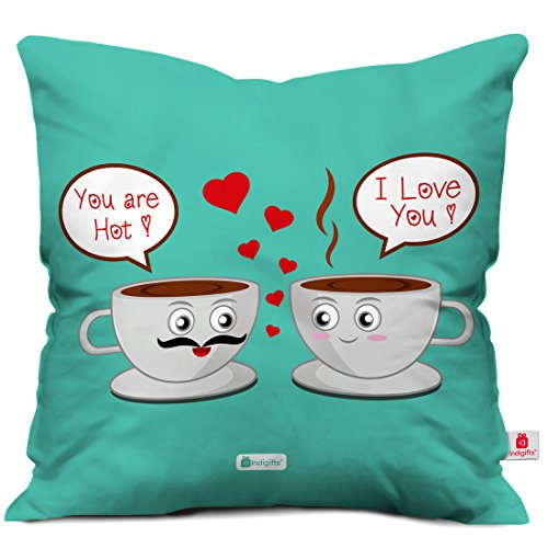 indibni Valentine Day Gift I Love You Quote Romantic Dialogues Personified with Coffee Cups Green 18x18 Cushion Throw Pillow Cover, Boyfriend Girlfriend Gifts, Husband Pillow, Wife Gifts, Spouse Gift