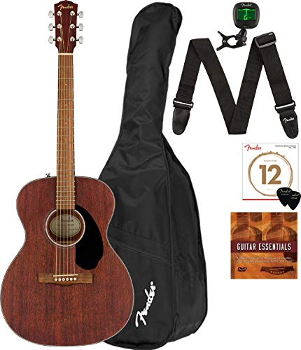 Fender CC-60S Solid Top Concert Size Acoustic Guitar - Mahogany Bundle with Gig Bag, Tuner, Strap, Strings, Picks, Fender Play Online Lessons, and Austin Bazaar Instructional DVD