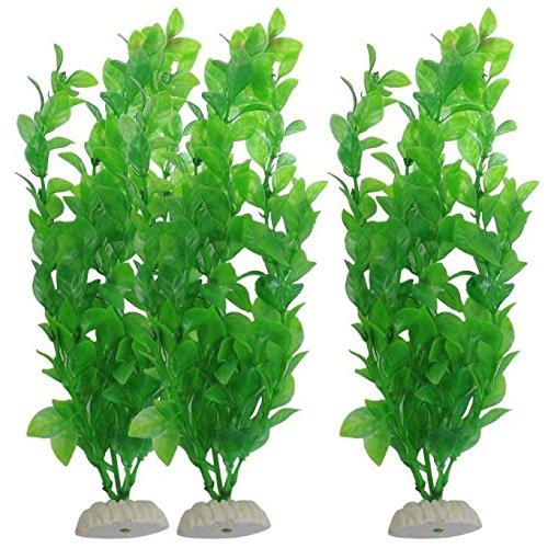 FiedFikt Künstliche Kunststoffpflanzen für Aquarien, für Aquarien, 26,9 cm, Grün (A) 3 Stück