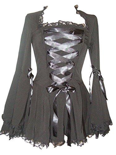 Schwarz (Blk Twilight Blouse) Gothic-Vampir Korsett Bluse mit Glockenärmeln,Violett,40-42/UK22-24