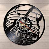 Reloj de pared para guitarra con diseño de guitarra Rock Music Decor Vinilo Record Wall Clock Music Is The Voice Of The Soul Guitarist Gift