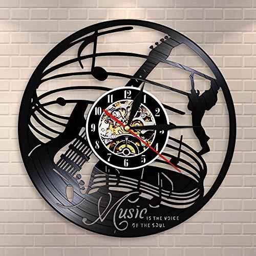 Reloj de pared de guitarra con diseño de guitarra y música de roca, decoración de vinilo, reloj de pared con citas musicales, música es la voz de la alma guitarrista regalo