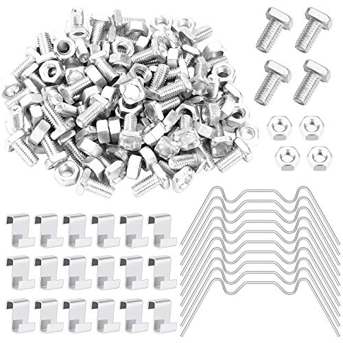 Homgaty 240 Piece Greenhouse Repair Kit,Includes 60Pcs Stainless Steel Greenhouse Glazing W Wire Clips, 60Pcs Overlap Z Clips, 60Pcs Aluminium Greenhouse Nuts and Bolts