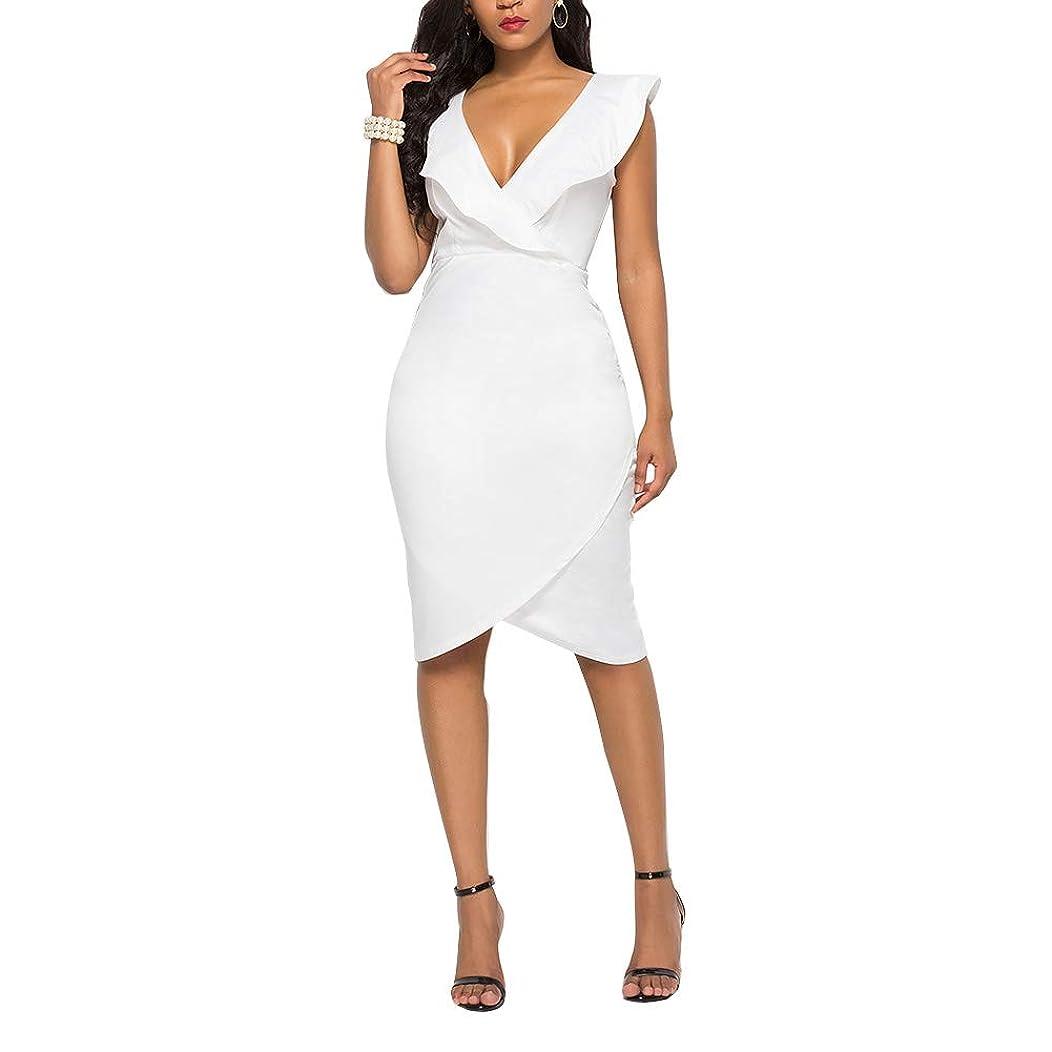 Lunaya Womens Sexy V Neck Midi Dress Solid Color Sleeveless Ruffle Bodycon Dress