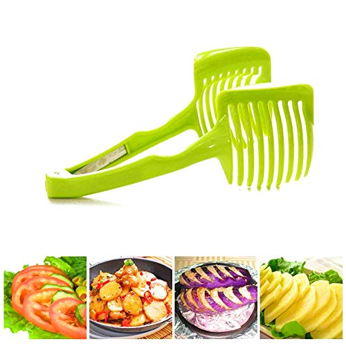 2019 best selling (VALUE PACK) Perfect Best Kitchen Utensil Handheld Round tomato-potato-onion Slicer Chopper Fruits-Vegetables Cutter gadget with a FREE multiuse ceramic peeler!!!