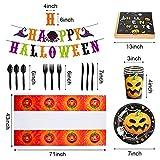 Halloween Party Zubehör Halloween Deko Set, Partygeschirr Set mit Papptelle, Pappbecher, Banner, Servietten, Halloween Party Dekoration fur Kinder, Grusel Party, Garten - 2