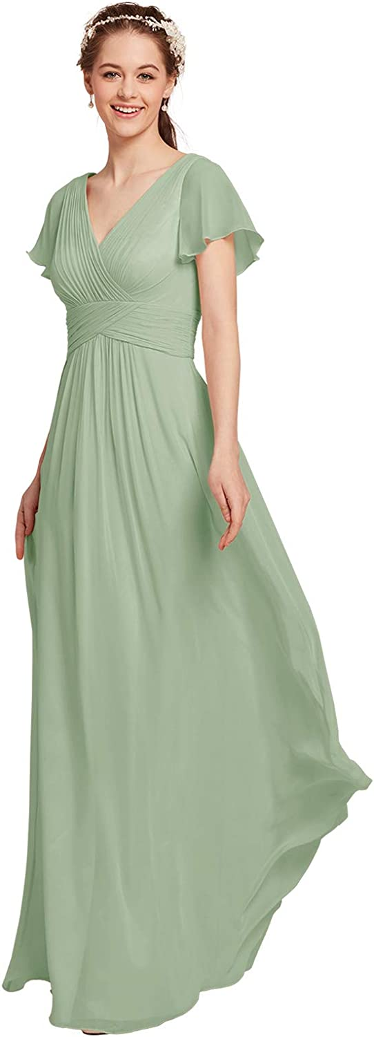 AW BRIDAL Chiffon Bridesmaid Dress with Sleeves Maxi Dresses for Women Party Wedding Mother of The Bride Dresses
