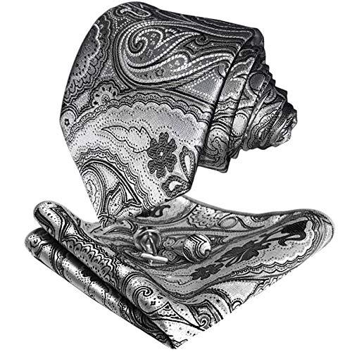CANGRON Los hombres de plata gris de Paisley del lazo corbata Conjunto de bolsillo con caja de regalo ajustan las mancuernas DLSP8YH