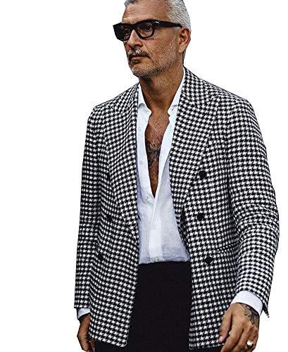 QZI Herren Jacke Hahnentritt Blazer Peak Revers Zweireiher Anzug Jacke Party Smoking Mantel