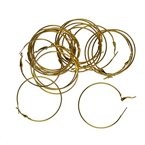 oshhni 20pcs 50mm Round Beading Hoop Loop Leverback Earring Findings - Gold