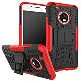 Moto G5 Plus Case,Moto G Plus (5th Generation) Case, DINGXIN [Shockproof] Tough Rugged Dual Layer Protective Case Cover [with Kickstand] for Motorola Moto G5 Plus (2017) (Red, Moto G5 Plus)