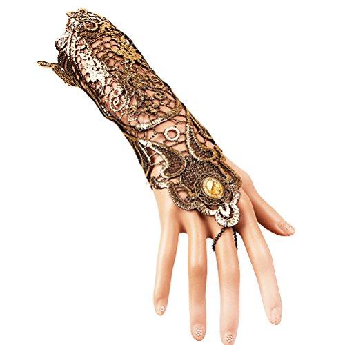 Fenical Spitze Handstulpen Lange Spitze Handschuhe mit Ring für Halloween Hochzeit Party Kostüme (Golden)