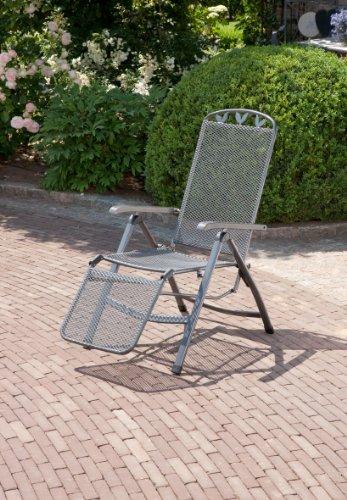 Relaxsessel \'Gjøvik\', Stuhl mit 5-fach Verstellung und Fußteil, Gartenstuhl aus Streckmetall, witterungsbeständig und pflegeleicht, 58x77x109cm, eisengrau