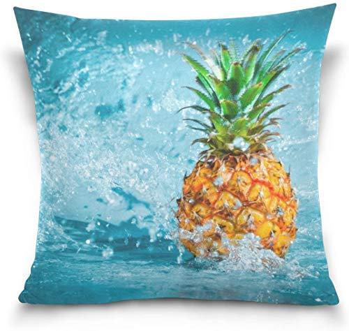 Fundas de cojín de doble cara de piña en agua tropical, frutas frescas, cuadradas, 40,6 x 40,6 cm, decorativas