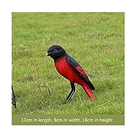 人工鳥樹脂鳥シミュレーションカササギ彫刻の庭の装飾 (Color : Red)