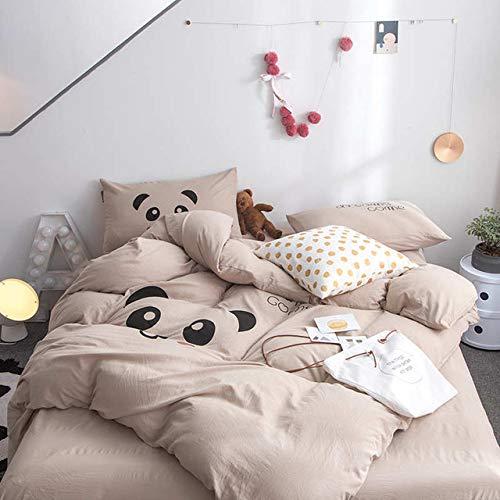 Hllhpc Mode schattig roze konijn kinderen cartoon beddengoed set roze dekbed plat kussensloop dubbel bed kingsize bed set huis en tuin