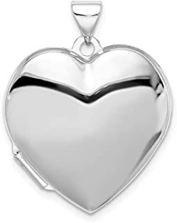 925 Sterling Silver 21mm Heart Photo Pendant Charm Locket Chain Necklace That Holds Pictures Fine Jewelry Gifts For Women For Her
