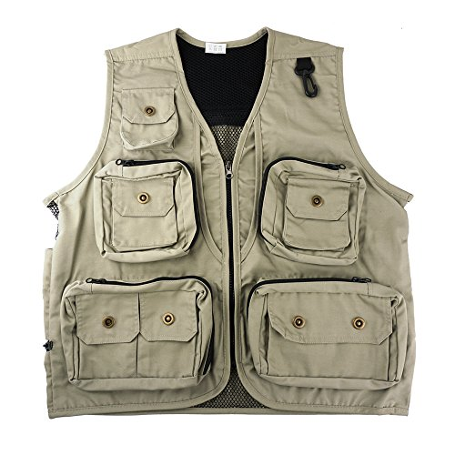 FoRapid Safari Photo Vest Photography Travel Hiking Fishing Camping Hunting (L) Khaki