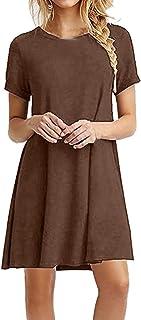 WYTong Dress For Women Elegant Solid Color Round Neck Short Sleeve Loose Skirt Dress Party Dresses For Women