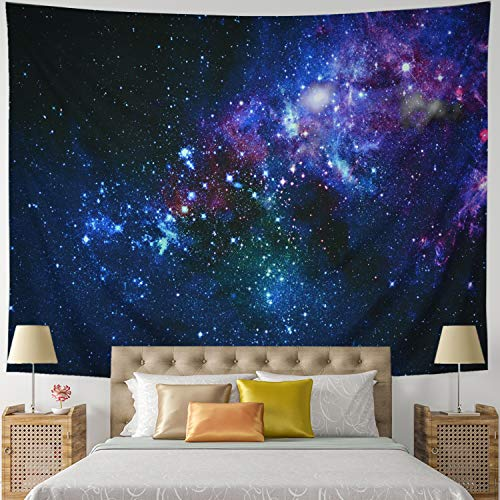 Leofanger Galaxy Tapestry Universe Starry Sky Tapestry Wall Hanging Milky Way Space Tapestry Psychedelic Tapestry Nebula Headboard Bedspread Tapestry for Bedroom Living Room(W59.1 × H51.2)