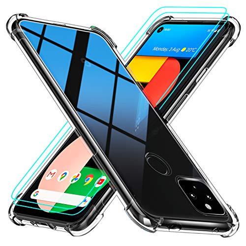 Peakally Google Pixel 4a 5G Hülle + 2 Stück Panzerglas Schutzfolie Soft Silikon Dünn Transparent Hüllen [Kratzfest] [Anti Slip] Schutzhülle Hülle Weiche Handyhülle für Google Pixel 4a 5G