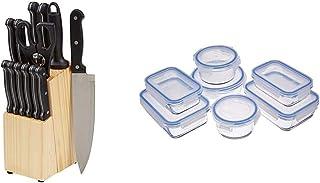 AmazonBasics - Juego de cuchillos de cocina y soporte (14 piezas) + Recipientes de cristal para alimentos, con cierre 14 p...