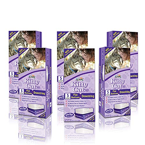 Alfapet Extra Large cat Litter Box Liners6 Boxes Heavy Duty 2 mil Thick Plastic Clever Drawstring Liner for Easy Disposal Flat Bottom for Easy Secure Placement in Kitty PanDisposable