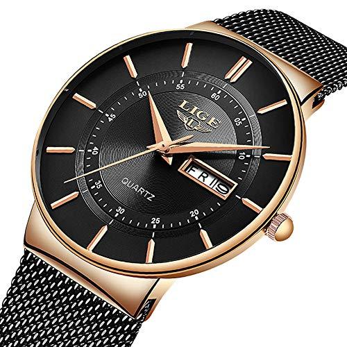 LIGE Herren Uhren Ultra Dünne Schwarze Minimalistische Quartz mit Datumsanzeige (B)