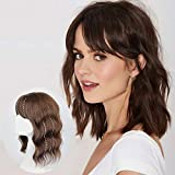 Vigorous Curly Wavy Hair Topper Hairpieces with Bangs for Women Mix Light Brown Crown Toppers Hairpieces Clip in Hair Topper for Thinning Hair Synthetic Hair Extension (14 inches)