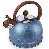 Tea Kettle, 2.3 Quart / 2.5 Liter BELANKO Stainless Steel Tea Kettles , Food Grade Stovetops Tea pot with Wood Pattern Handle Loud Whistling for Tea, Coffee, Milk etc, Gas Electric Applicable - Blue
