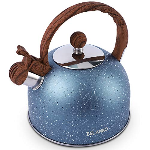 Tea Kettle, 2.3 Quart Tea Pot BELANKO Whistling Water Kettle, Food Grade Stainless Steel Teapot for Stovetops Gas Electric Induction with Wood Pattern Handle Loud Whistle - Blue