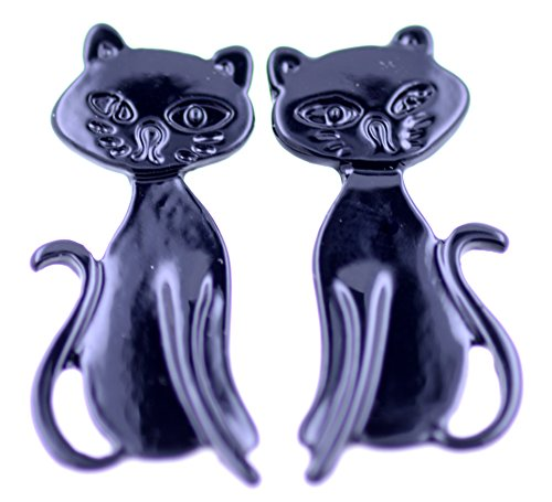 Lizzyoftheflowers - Pendientes de Gatito esmaltados, diseño de Gato, Color Negro