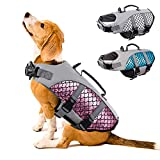 Dog Life Jacket Pet Safety Vest Coat, Reflective Adjustable Puppy Lifesaver Preserver with Rescue Handle, Ripstop Safety Swimsuit for Small to Large Dog in Pool Beach Lake Kayak Boat Swimming Surfing