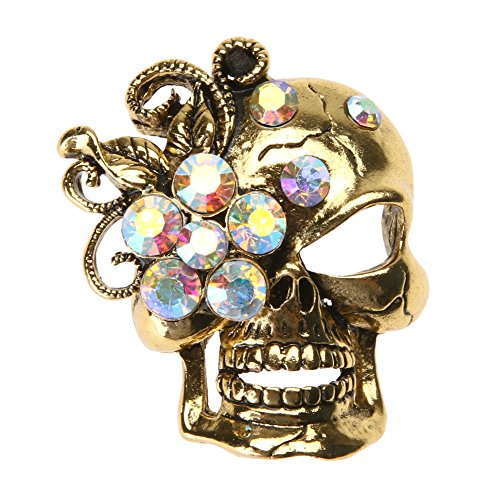 Demiawaking Fashionable Diamante Brooches for Women, Ladies Skull Crystal Brooch Pins with Colorful Diamante Women Corsage Wedding Bouquet Decor