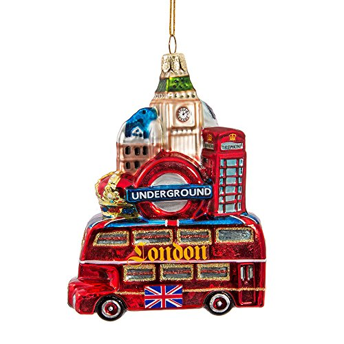 Kurt Adler Glass London City Ornament, 5-Inch