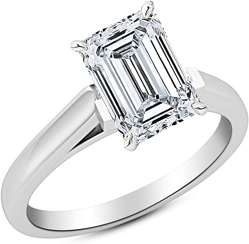 0.5 1/2 Ct Emerald Cut Cathedral Solitaire Diamond Engagement Ring 14K White Gold (H Color VS2 Clarity)