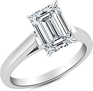 1.7 Ct GIA Certified Emerald Cut Cathedral Solitaire Diamond Engagement Ring 14K White Gold (H Color VS1 Clarity)