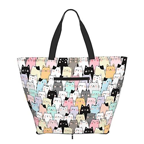 Women Handbags Large Tote bag Cute Cat Big Capacity Handbags Trendy Gym Sports Beach Shoulder Tote Bag