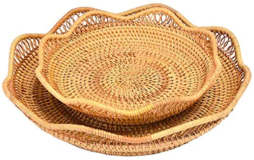 Wicker Bread Basket Woven Food Serving Display Storage Basket Fruit Candy Cake Or Storage for Key Holder Stackable Food Storage Organizing Kitchen Counter Natural Rattan Round Basket Set of 2