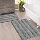 (Set of 2) Bathroom Rugs and Bath Mats by Zebrux, 20'' x 30 + 15'' x 23'' Set Extra Soft and Absorbent - Striped Bath Rugs Set for Indoor/Kitchen Rug, Light Grey.