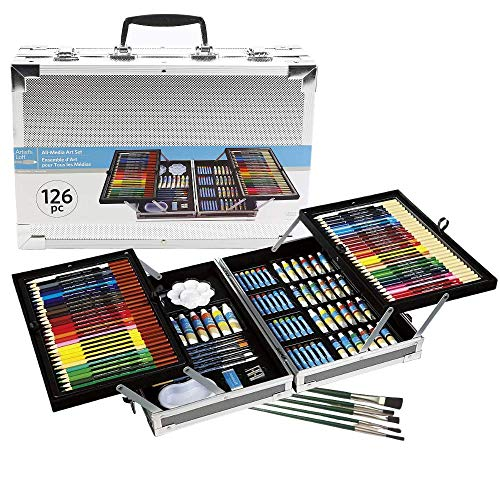 Artist's Loft All-Media Art Set in Aluminum Case, 126 Pieces – All-in-One Art Set [Bundle] Kit Includes Art Supplies for Drawing, Painting & 5 Extra Paint Brushes
