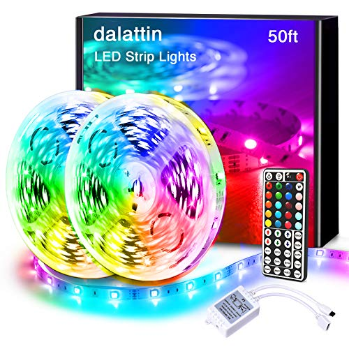 Dalattin Led Lights for Bedroom 50FT RGB 5050 Led Strip Lights Color Changing Kit with 44 Keys Remote Controller and 12V Power Supply Led Light Strips Indoor Decoration