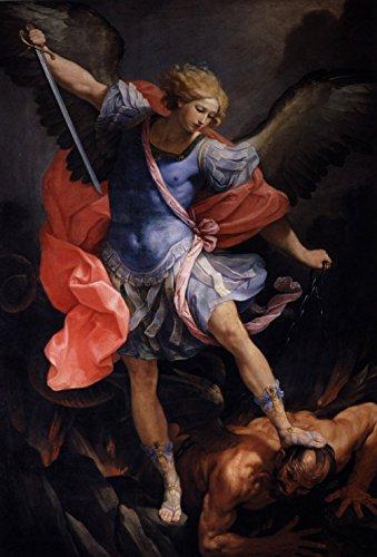 Guido Reni - The Archangel Michael defeating Satan, Size 16x24 inch, Canvas art print wall décor